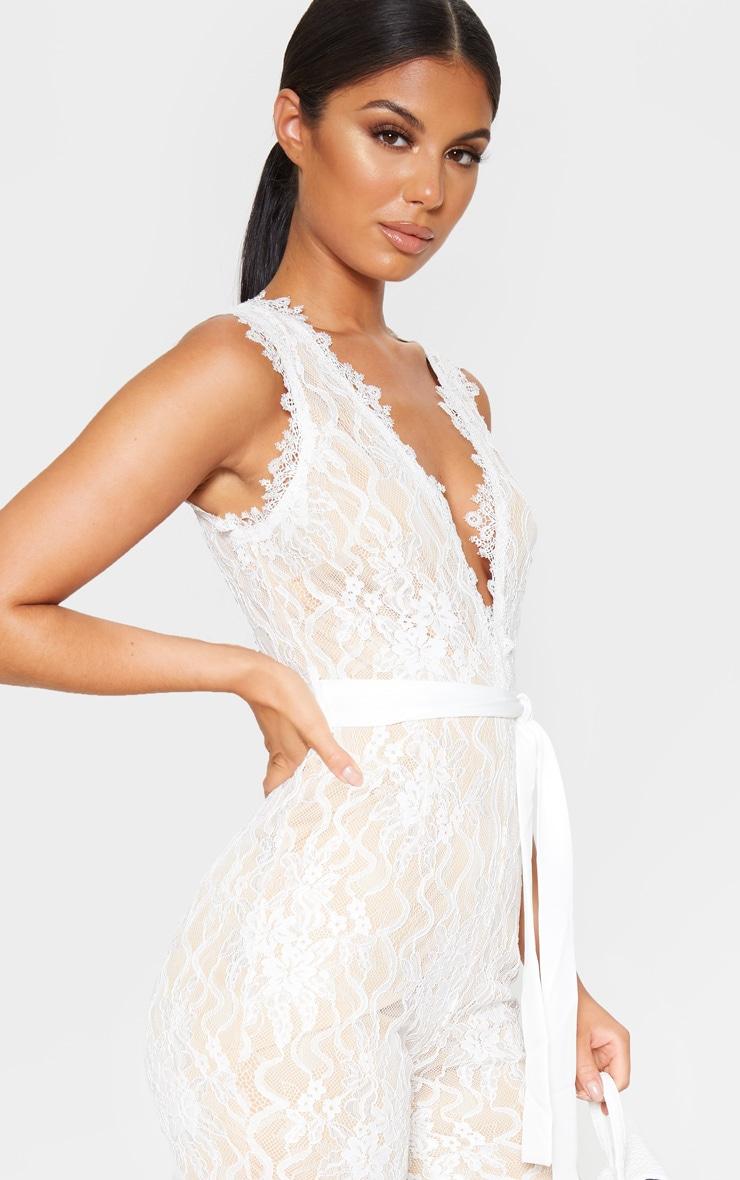 White Lace Contrast Plunge Jumpsuit 5