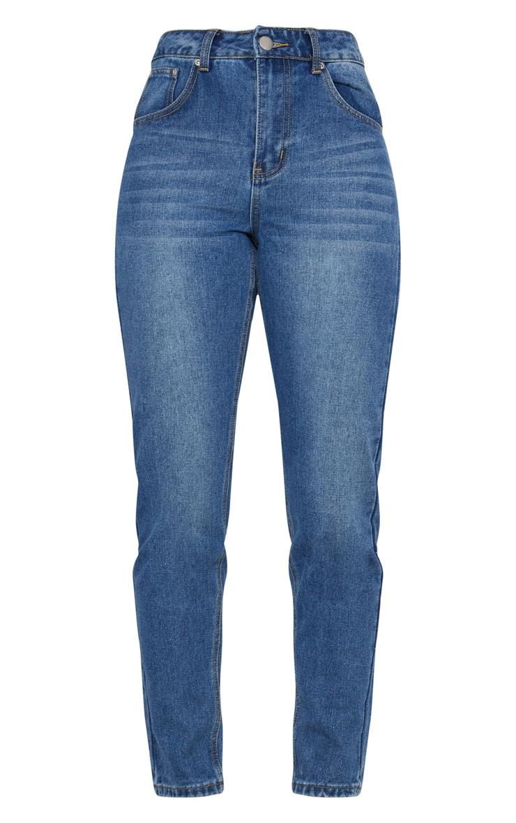 Mid Wash Bum Rip Straight Leg Jean 3