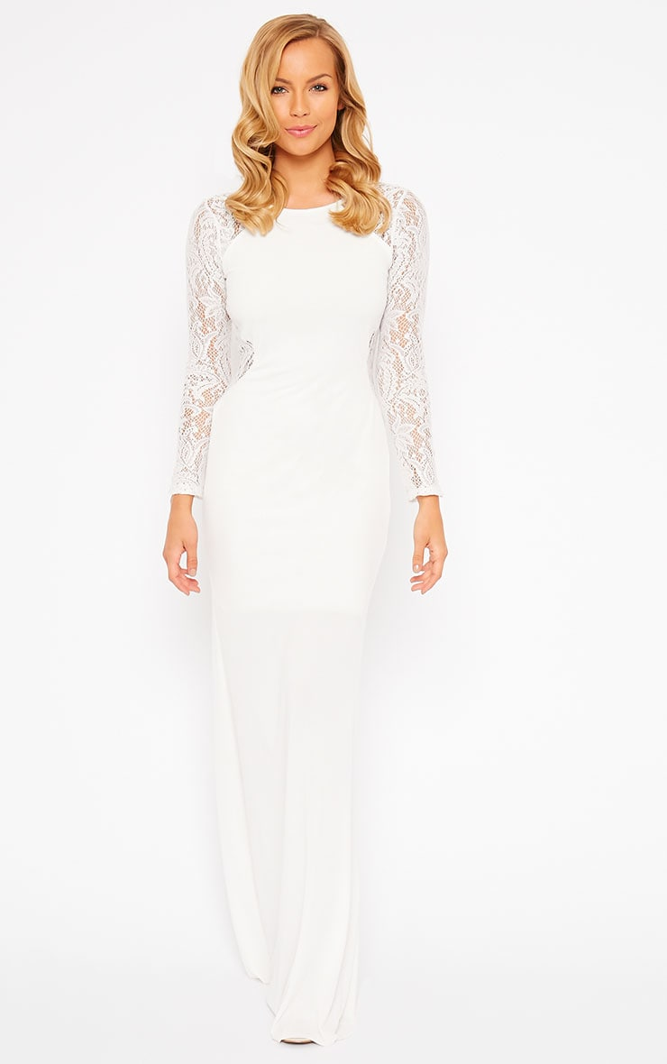 Debbie Cream Lace Insert Maxi Dress 6