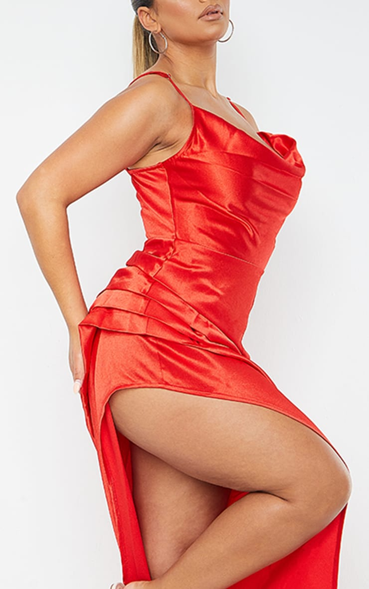 Shape Red Satin Cowl Side Split Ruched Maxi Dress 4