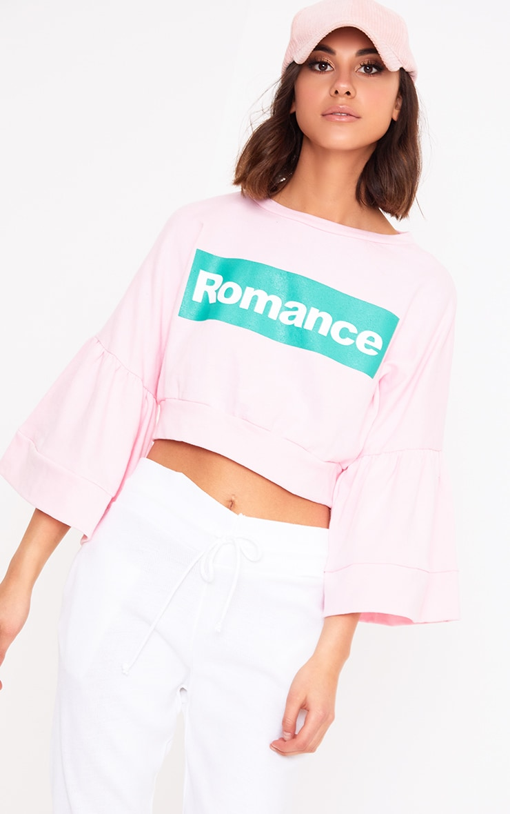 Baby Pink Romance Slogan Balloon Sleeve Cropped Sweater  1