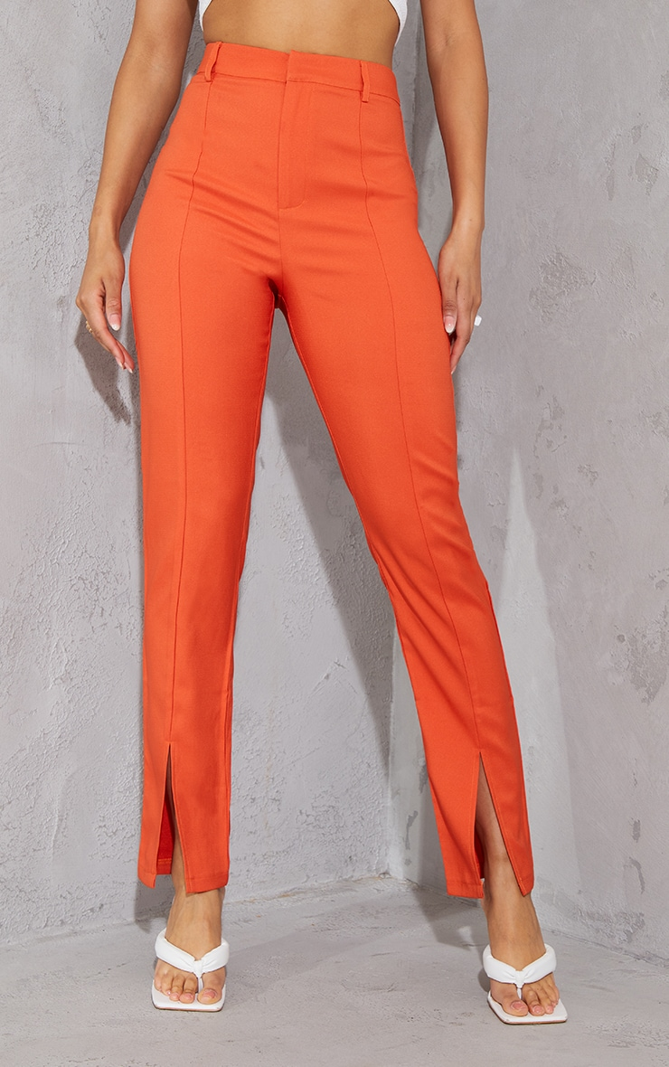 Orange High Waisted Straight Leg Split Hem Trousers 2