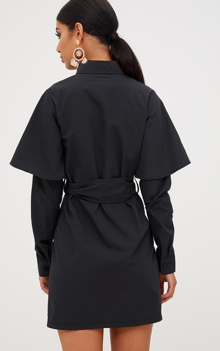 Black Double Cuff Tie Waist Shirt Dress 2