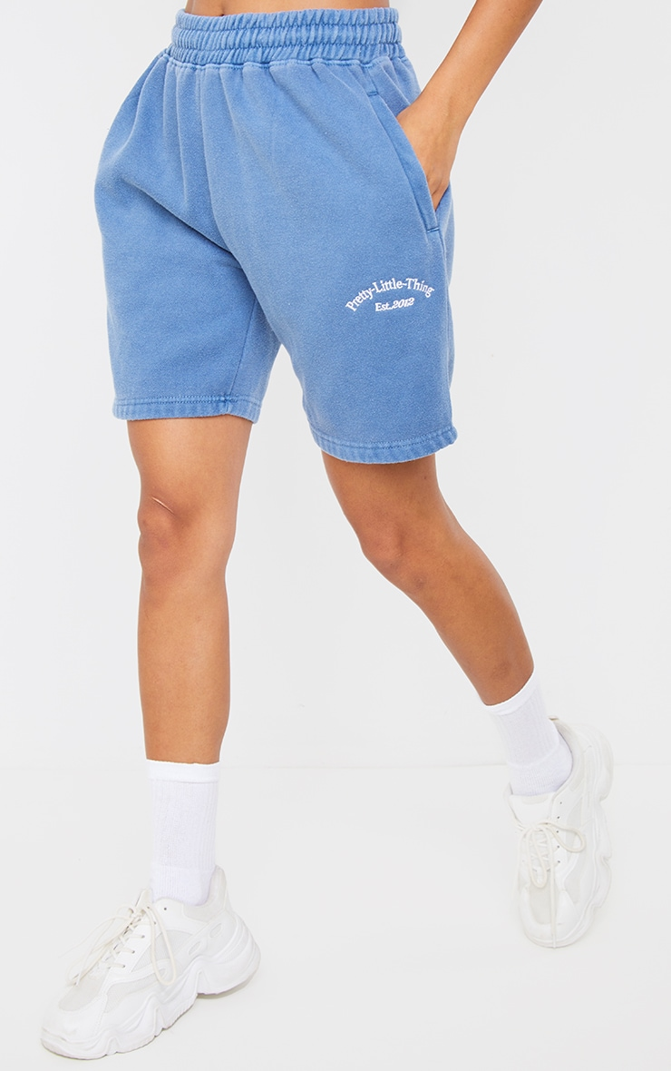 PRETTYLITTLETHING Steel Blue Washed Sweat Shorts 2