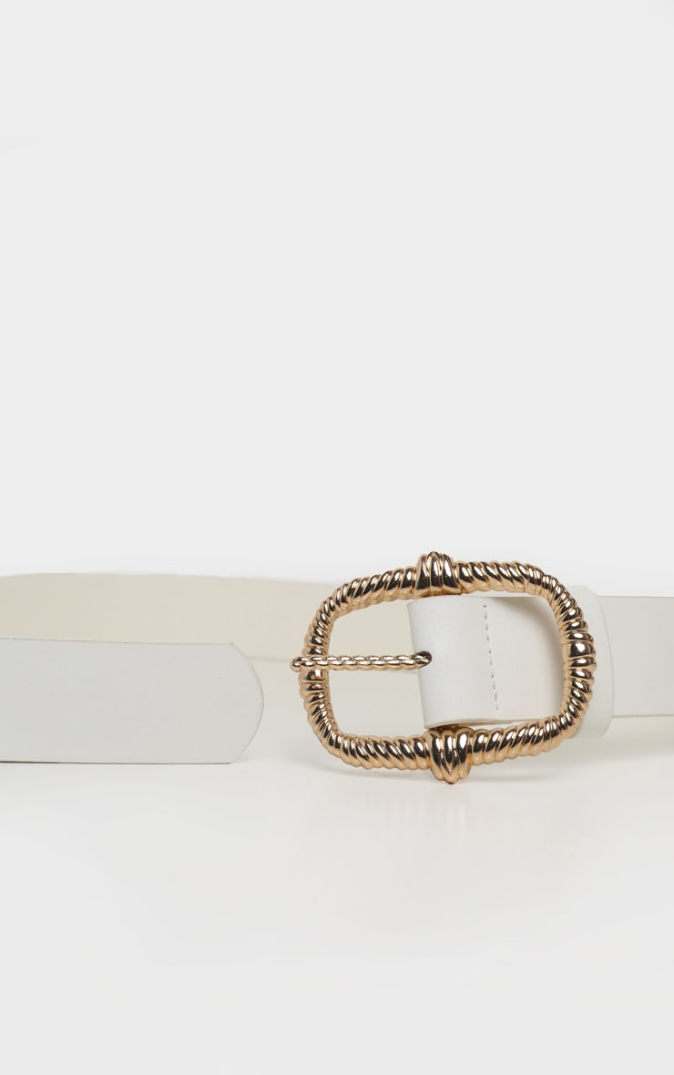 White PU Gold Large Rope Effect Buckle Belt 3