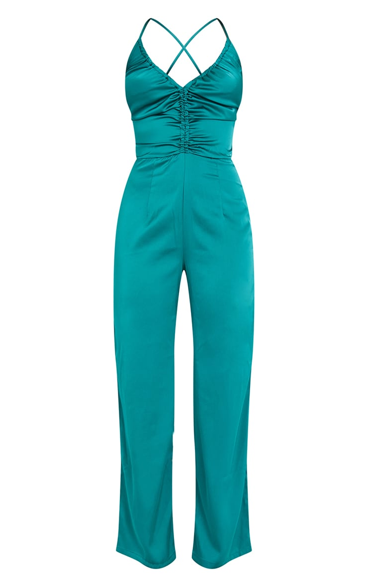 Emerald Green Ruched Centre Strappy Satin Jumpsuit 5