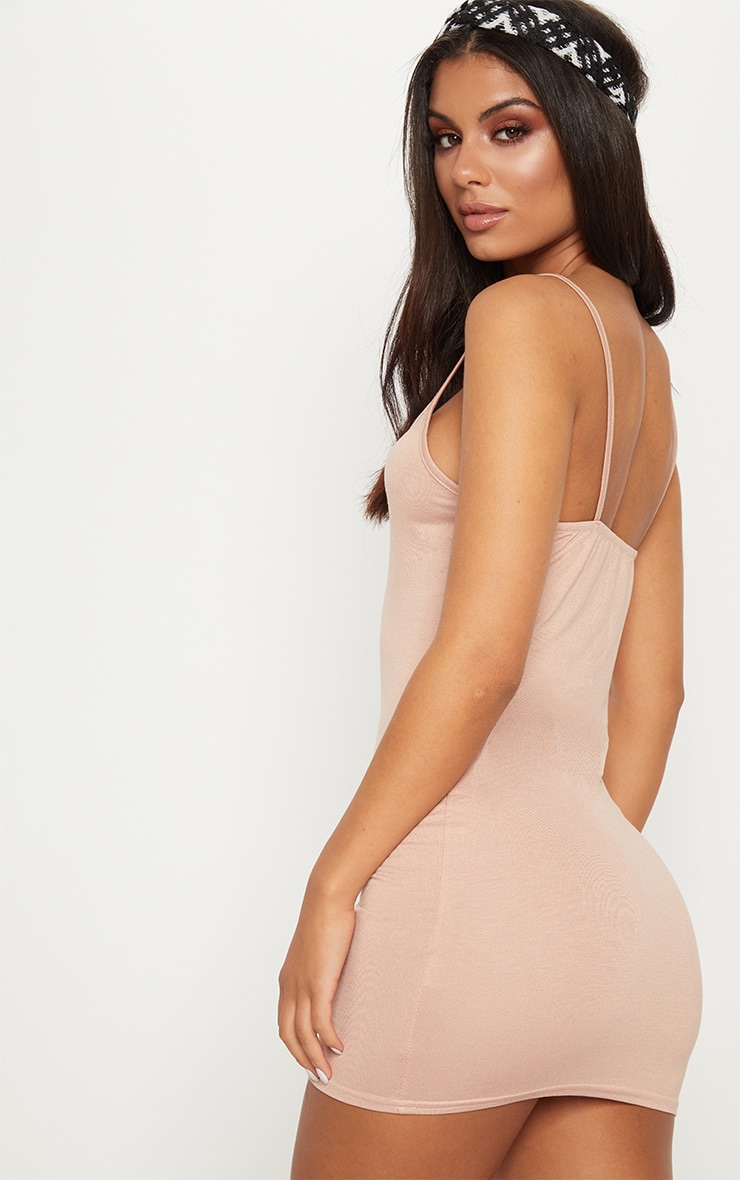 Basic Nude Strappy Bodycon Dress 3