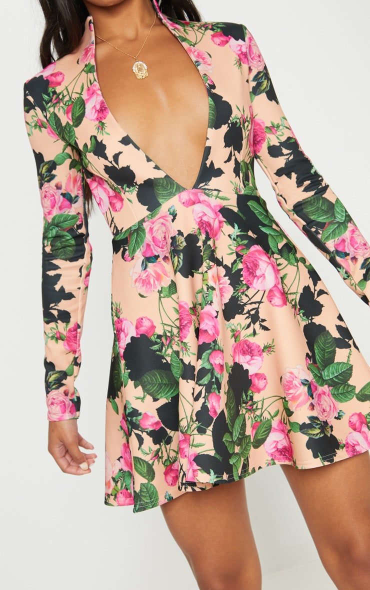 Peach Floral High Collar Detail Plunge Skater Dress 5