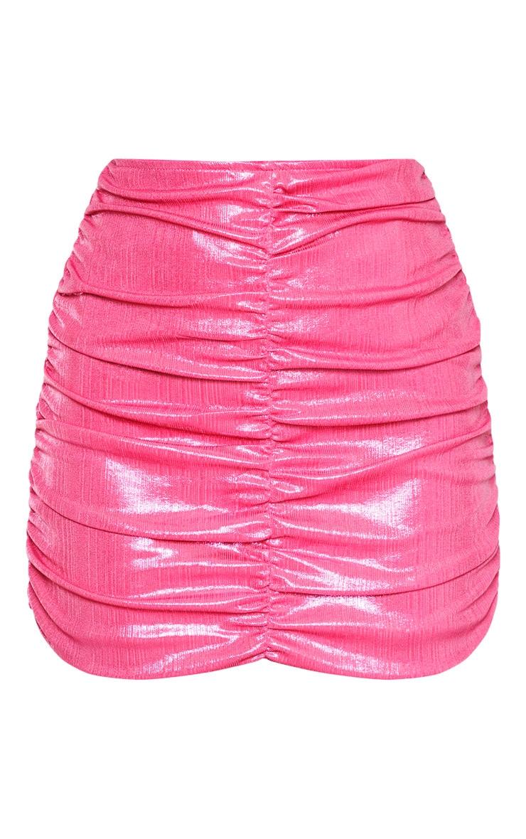 Pink Metallic Thread Ruched Mini Skirt 3