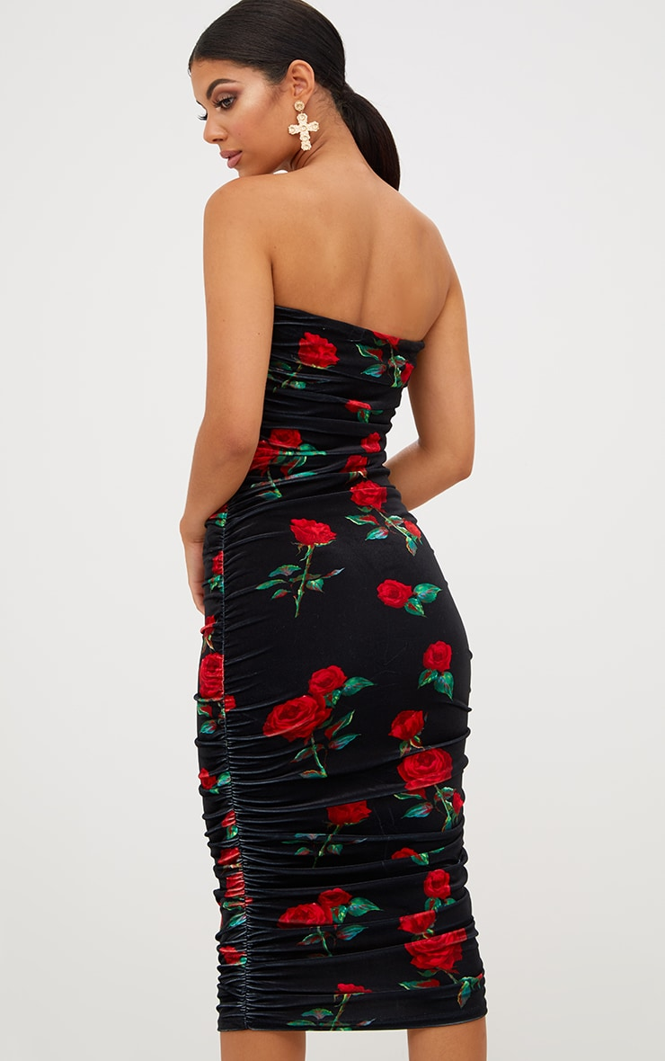 Black Floral Printed Velvet Ruched Bandeau Midi Dress 3