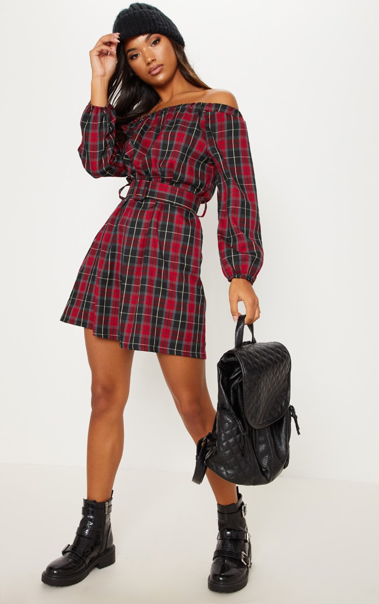 Red Tartan Bardot Belted Mini Dress 1