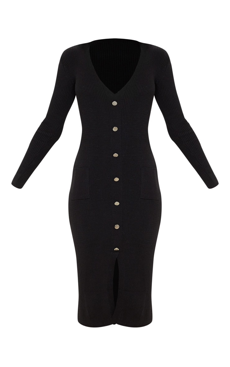 Black Button Front Knitted Midi Dress 3