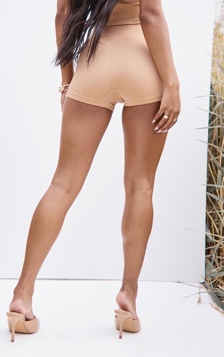 Camel Structured Contour Rib Hot Pants 3
