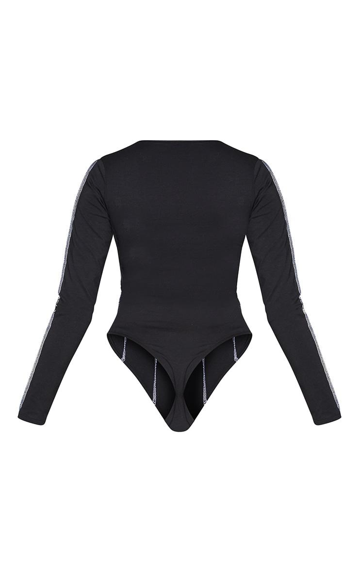 Black Seam Detail Long Sleeve Bodysuit 6