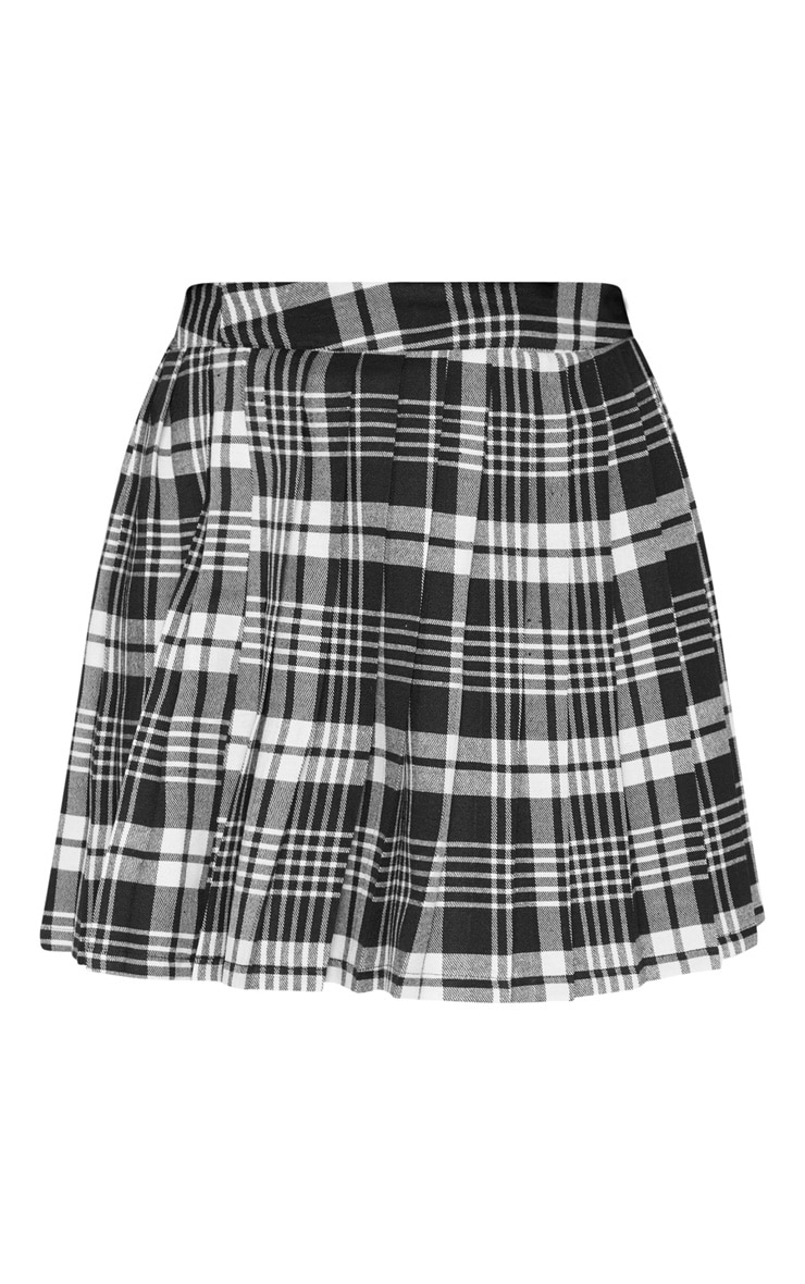 Black Woven Check Pleated Tennis Skirt 3