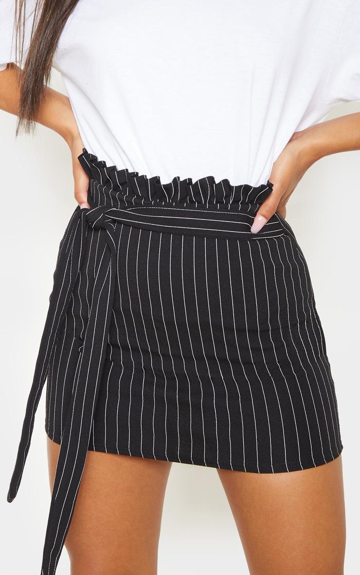 Black Pinstripe Paperbag Mini Skirt  6