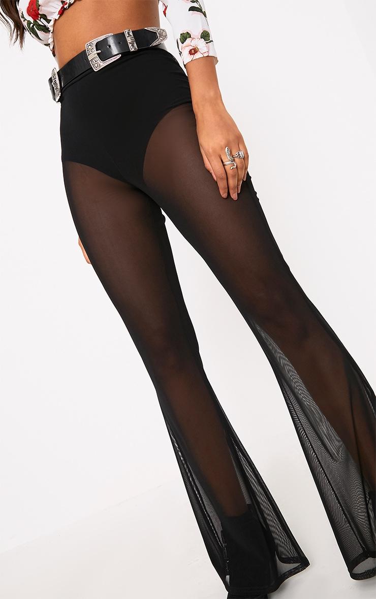 Black Flared Sheer Trousers 4
