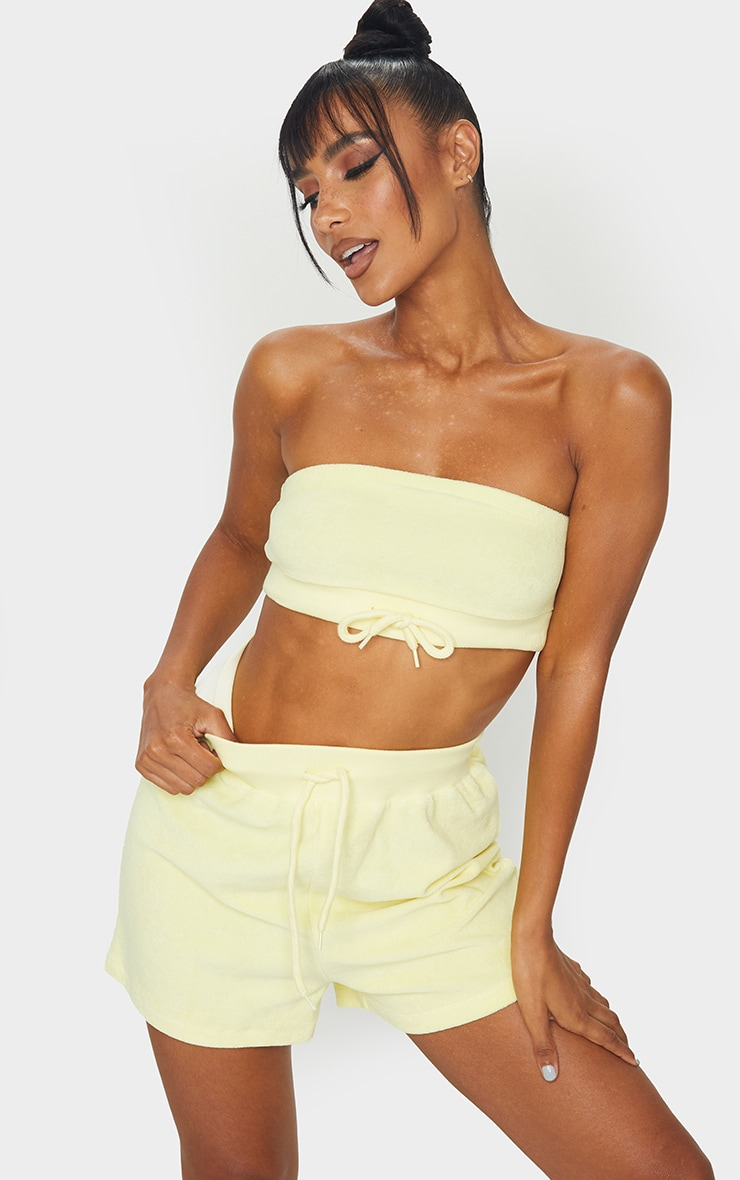 Yellow Towelling Tie High Waist Shorts 4