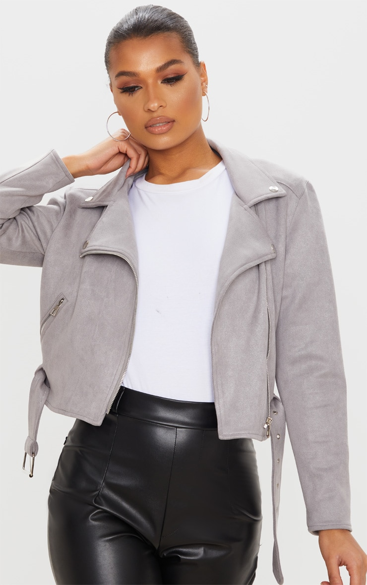 Grey Faux Suede Biker Jacket 5