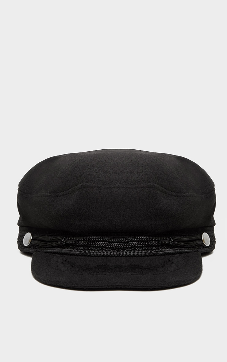 Black Flat Top Baker Boy Hat 2