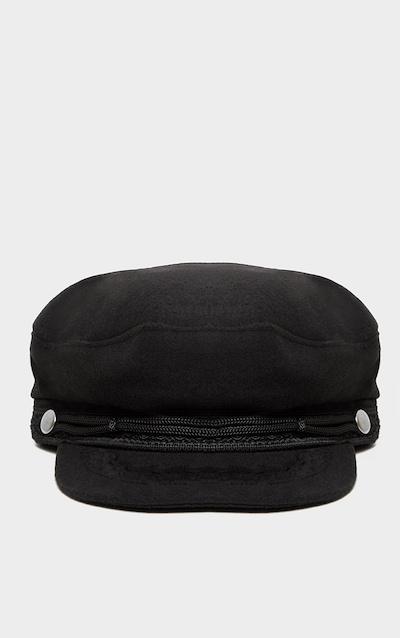 Black Flat Top Baker Boy Hat