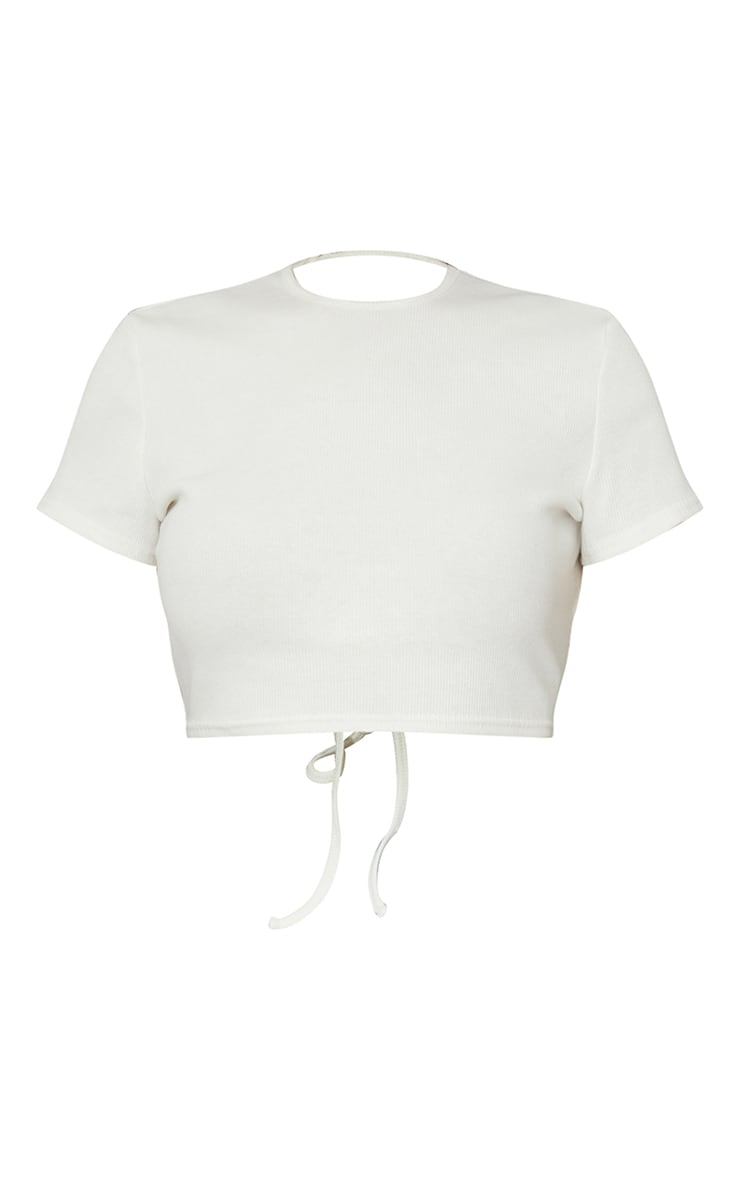 Cream Rib Backless Tie Cut Out Crop Top 5