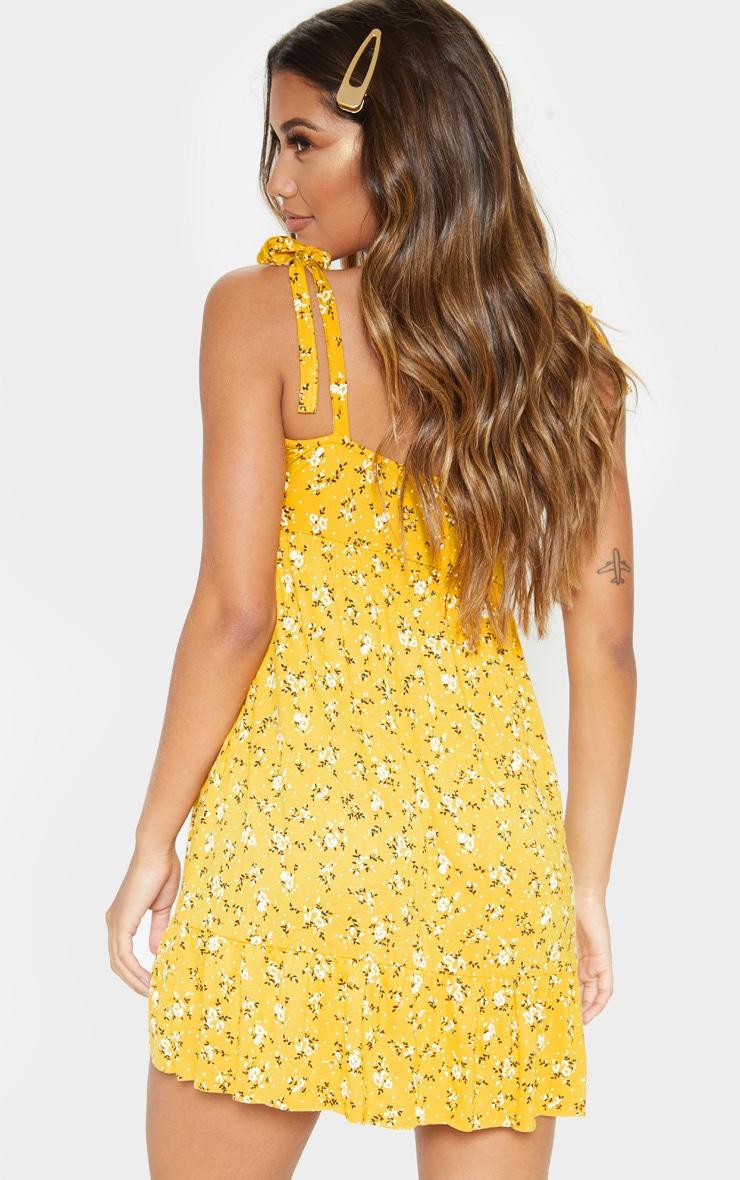 Mustard Floral Print Tie Shoulder Frill Hem Skater 2