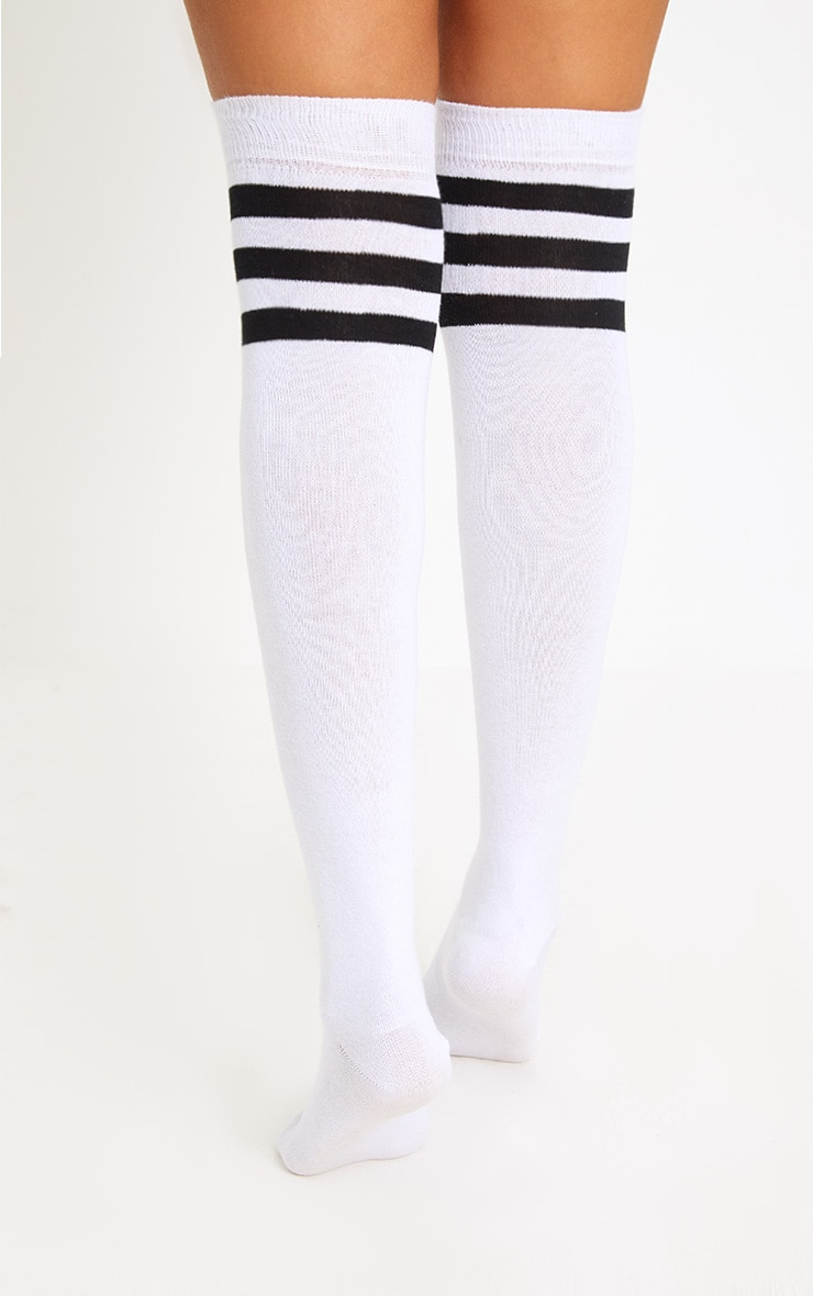 White & Black Striped Over The Knee Socks 2