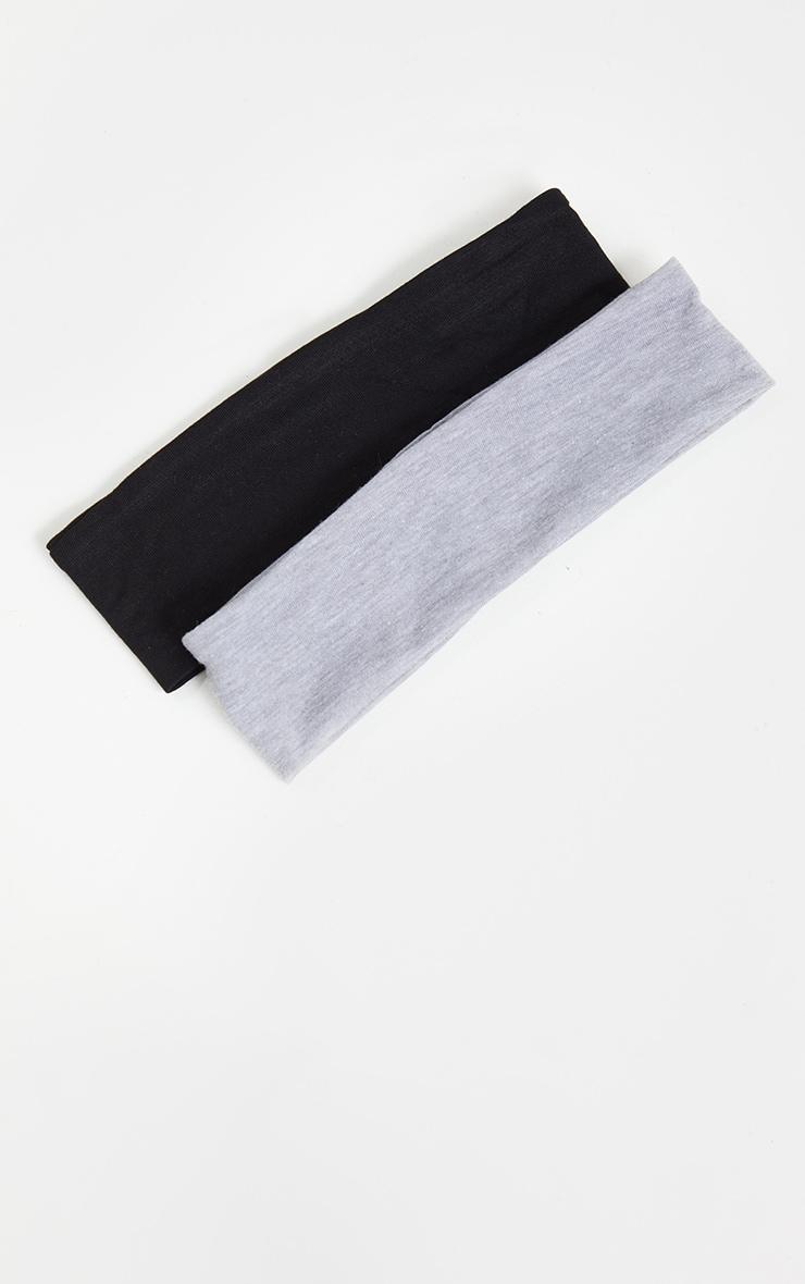 Lot de 2 bandeaux à cheveux basiques - Noir & Gris 2