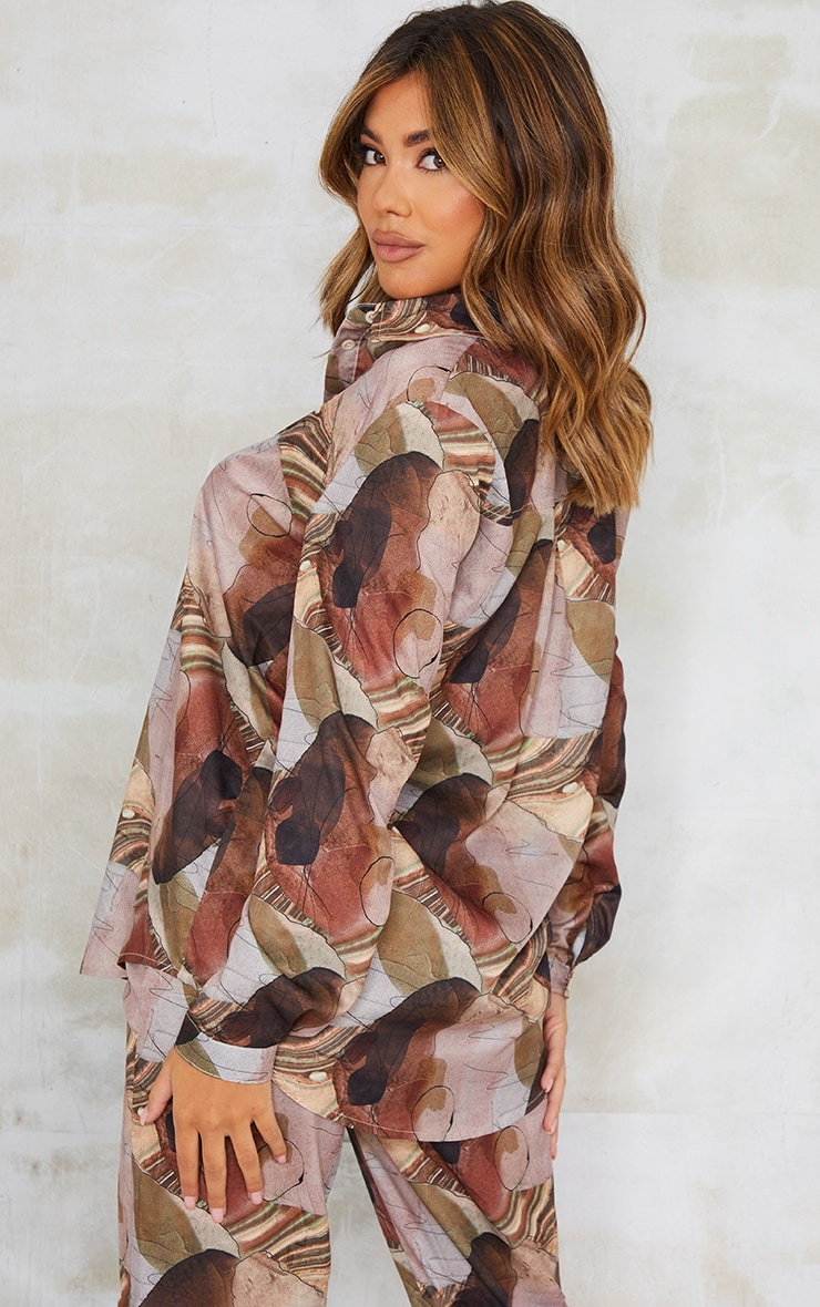 Beige Abstract Print Oversized Shirt 2