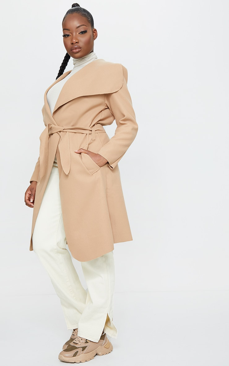 Petite Camel Oversized Waterfall Belt Coat 3