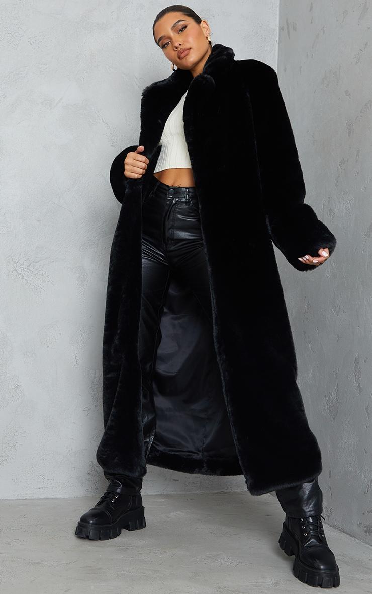 Black Premium Faux Fur Plush Military Maxi Coat 1