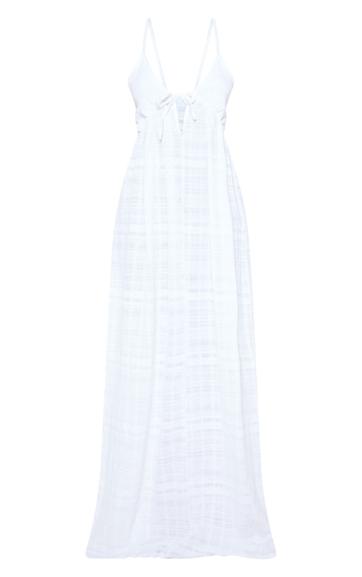 White Textured Cotton Beach Maxi Dress 3