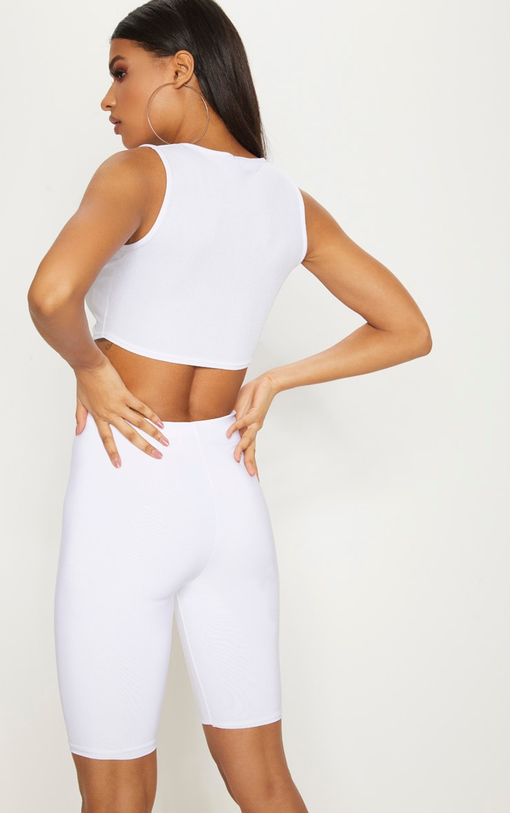 White Crepe Button Front Point Hem Crop Top 2
