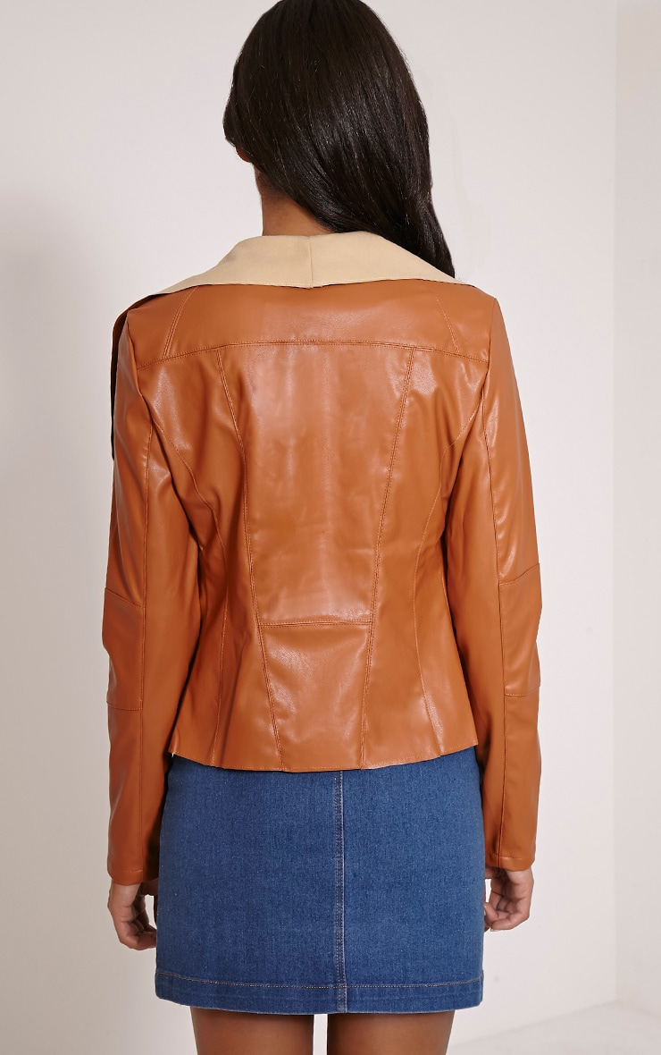 Mischa Tan Faux Leather Waterfall Jacket 2