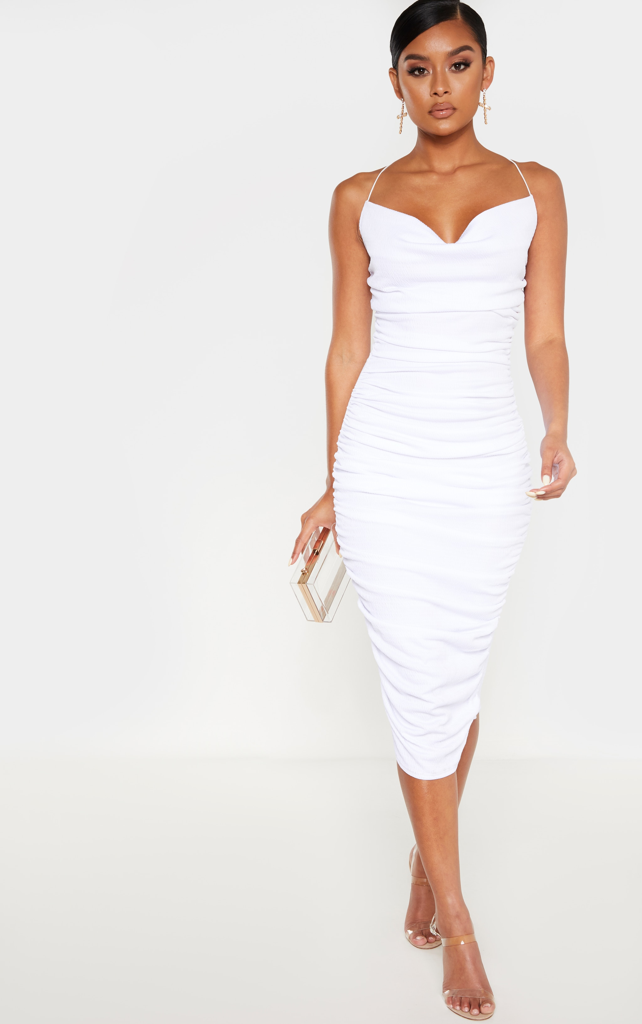 White Crinkle Texture Ruched Cowl Neck Midi Dress 1