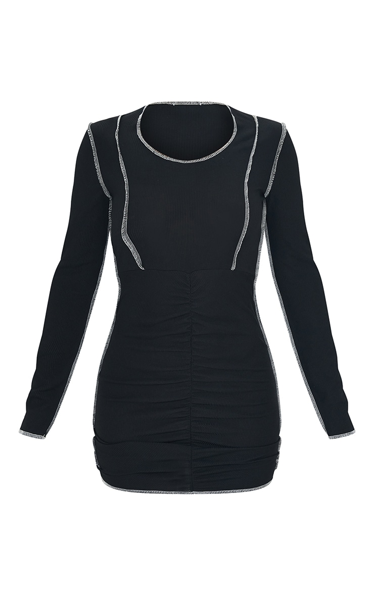 Black Ribbed Stitch Detail Ruched Long Sleeve Bodycon Dress 5