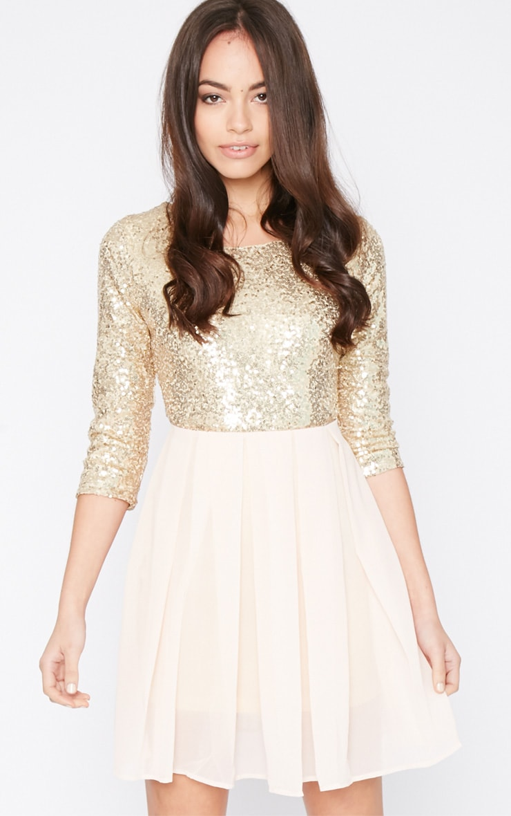 Tiva Gold Sequin Blush Skater Dress 1
