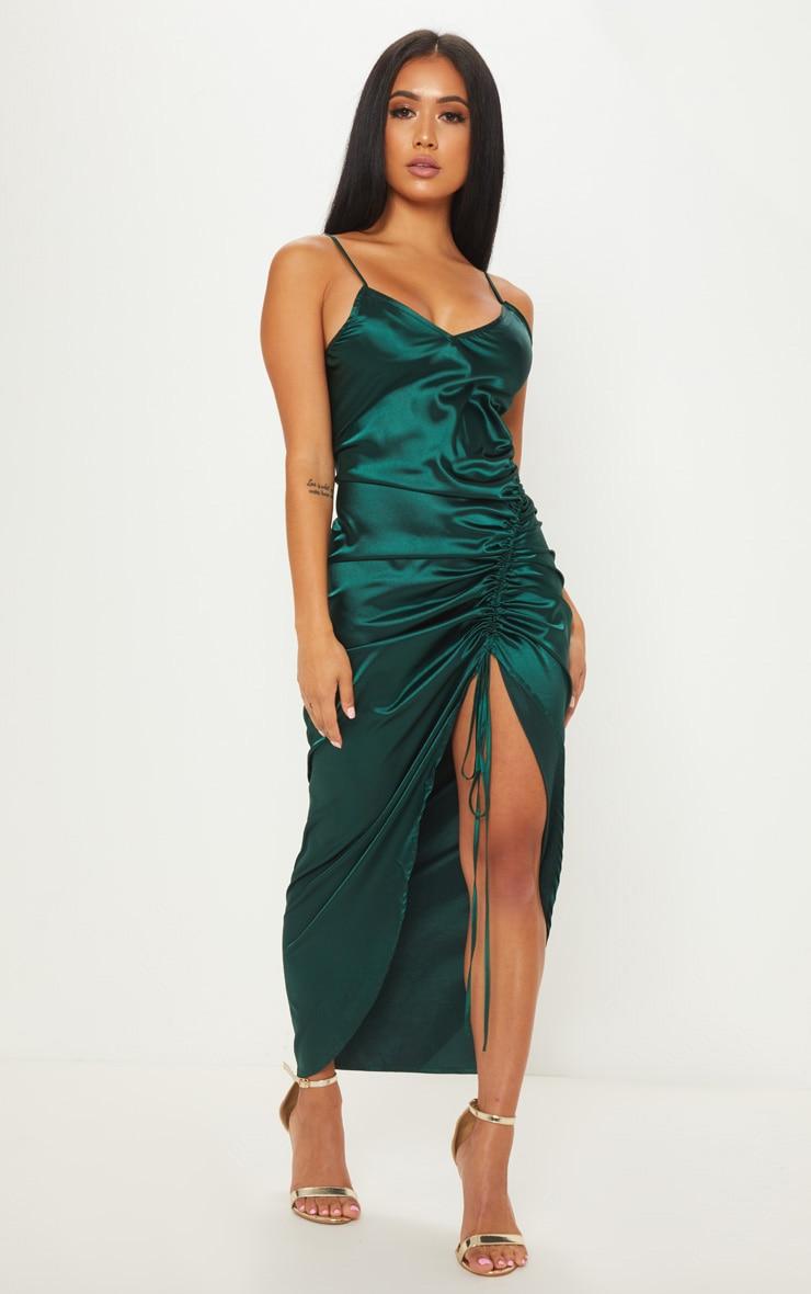 Petite Emerald Green Satin Strappy Dress Prettylittlething