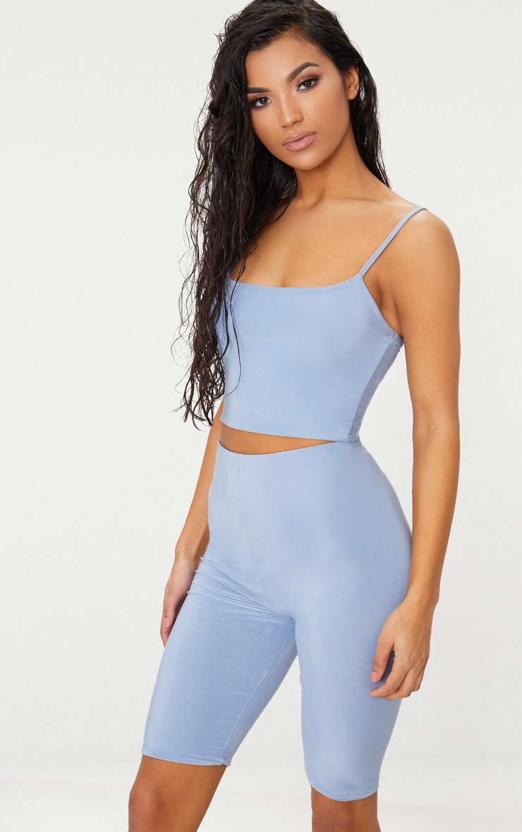 DUSKY BLUE SLINKY HIGH WAISTED CYCLE SHORTS