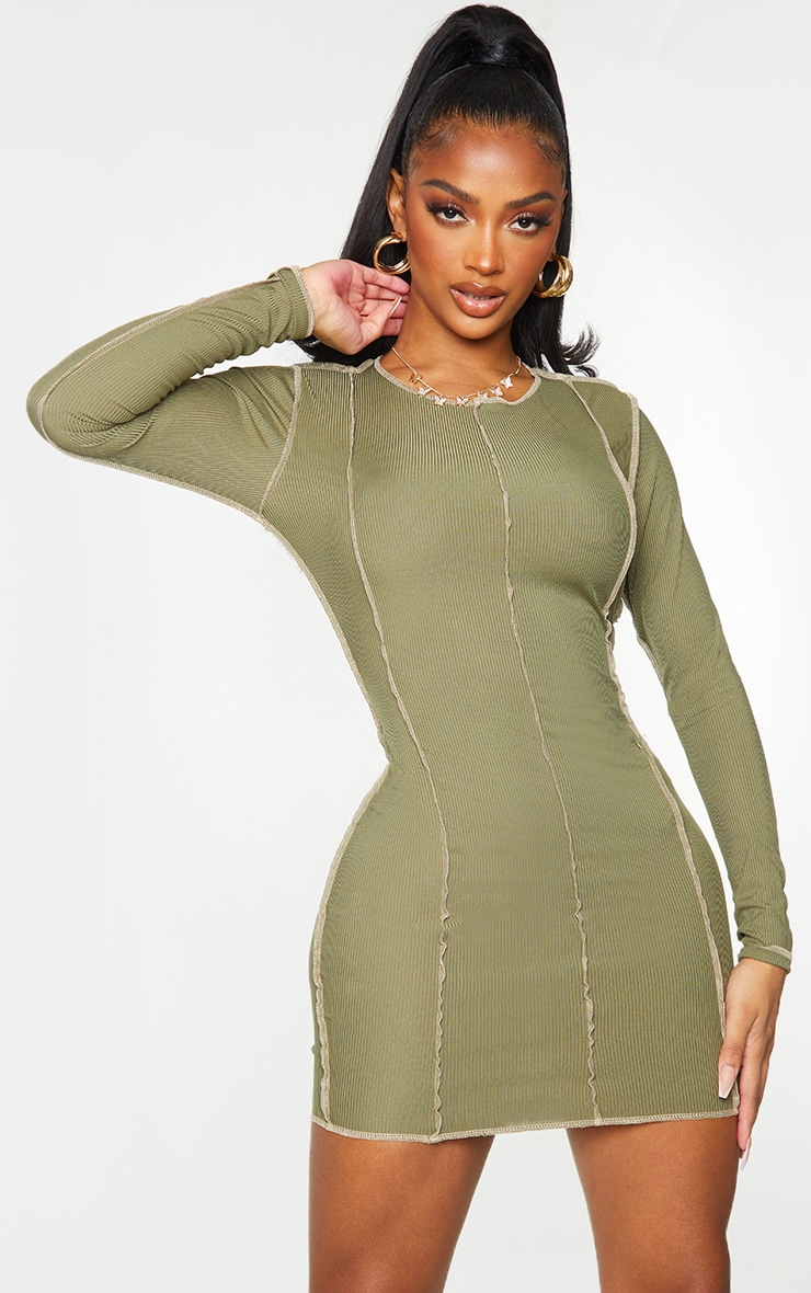 Shape Khaki Rib Overlock Seam Detail Bodycon Dress 1