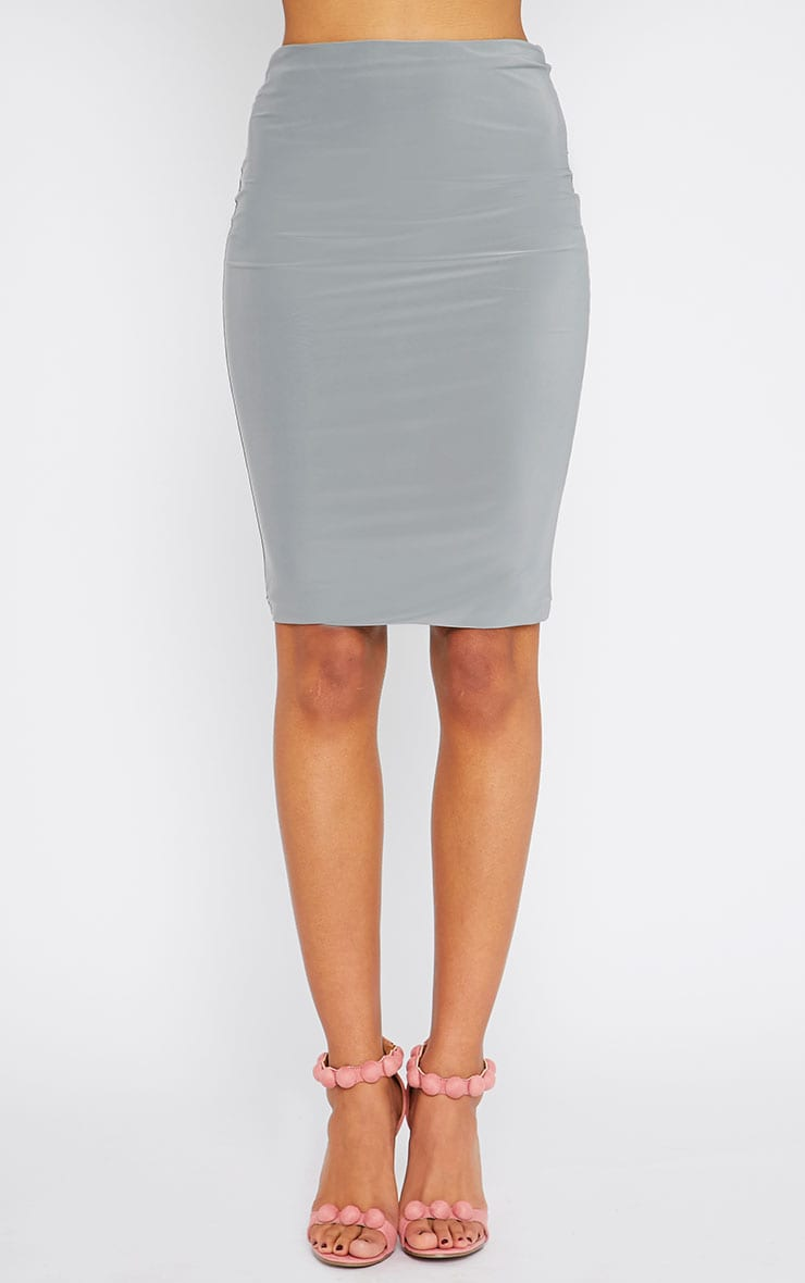 Arabella Grey Slinky Midi Skirt 2