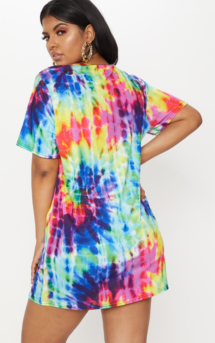Plus Multi Tie Dye Short Sleeve T Shirt Dress 2