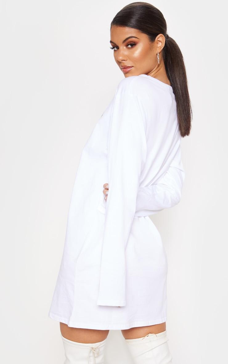 White Cherub Slogan Print Long Sleeve T Shirt Dress 2