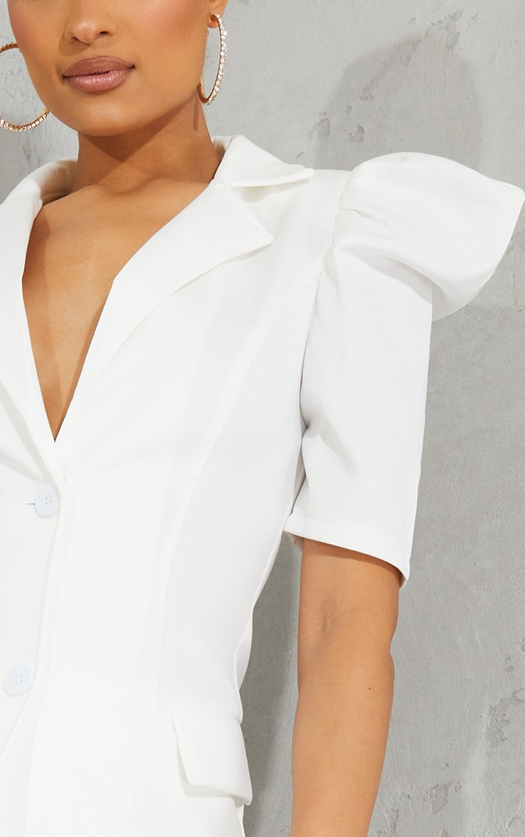 Cream Scuba Frill Shoulder Longline Blazer 4
