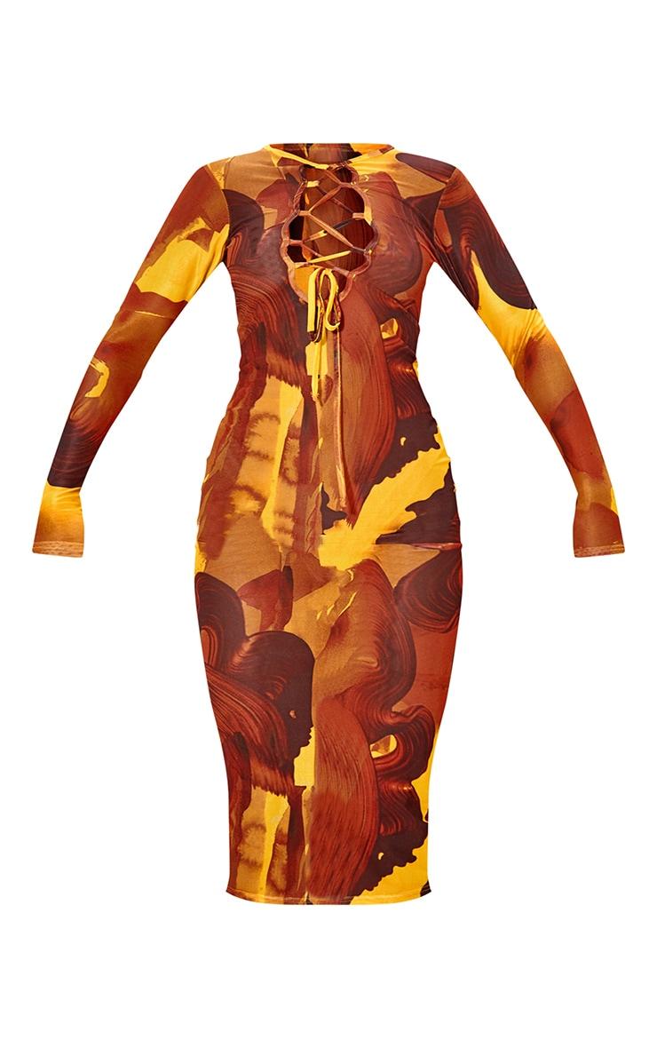 Multi Abstract Print Mesh Lace Up Detail Long Sleeve Midi Dress 5