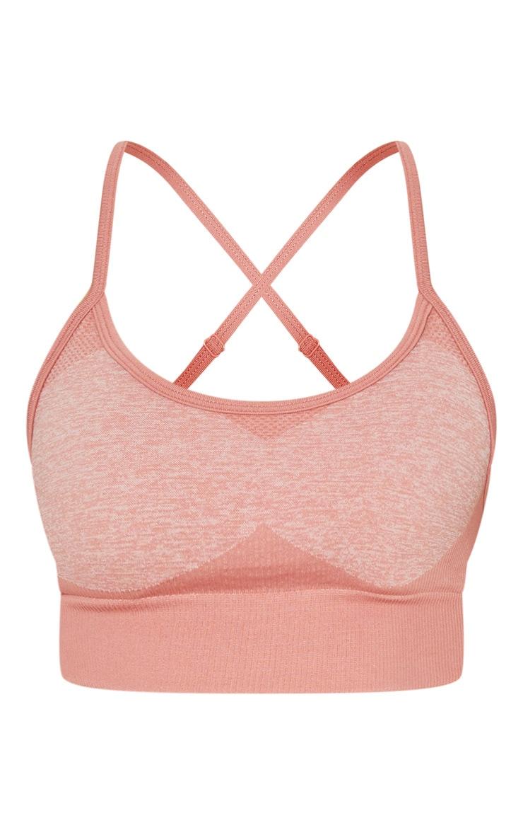 Pink Seamless Longline Sports Bra Top 3