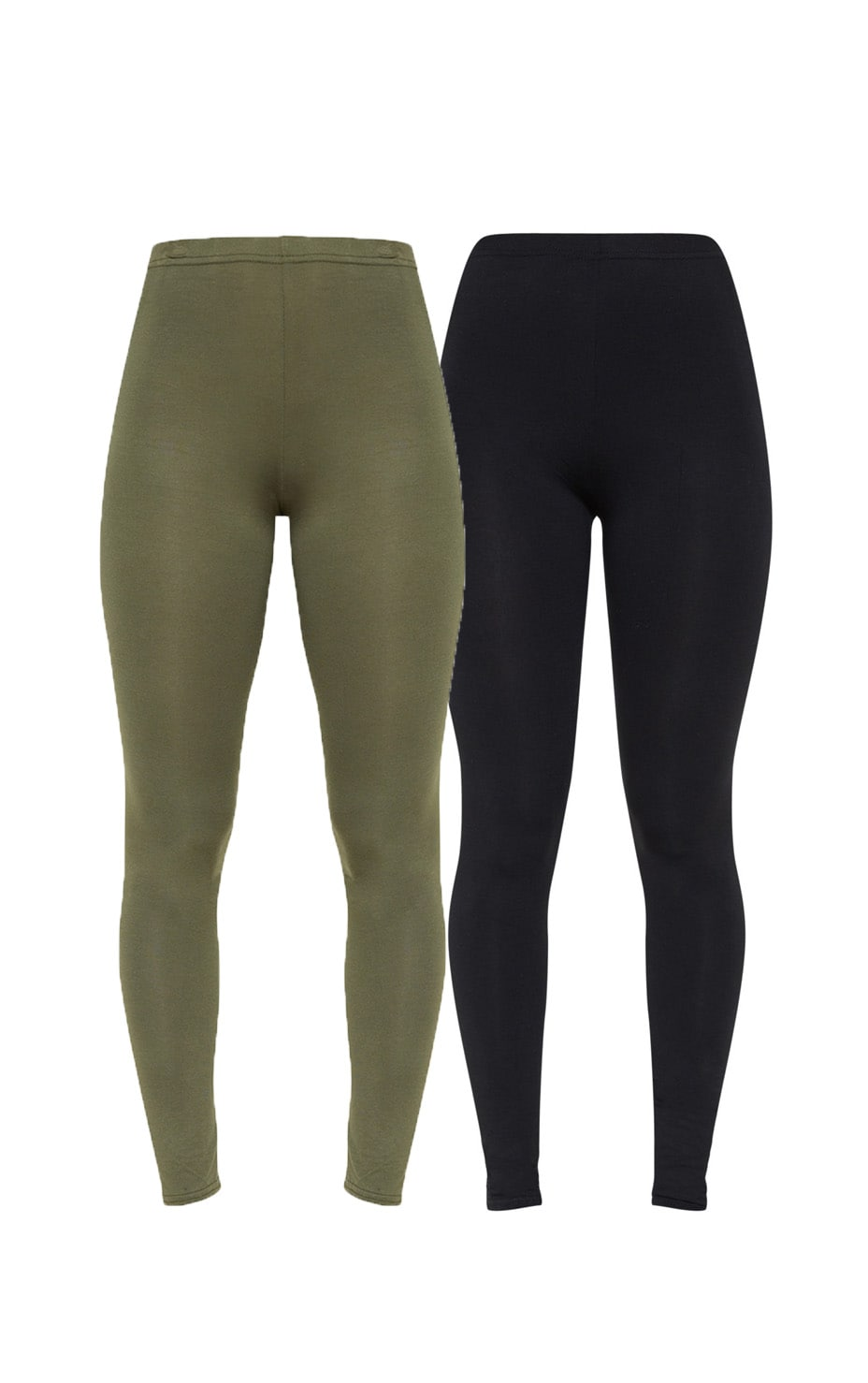 Basic Black and Khaki Jersey Leggings 2 Pack 3