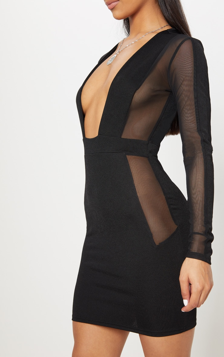 Black Mesh Insert Extreme Plunge Long Sleeve Bodycon Dress 5