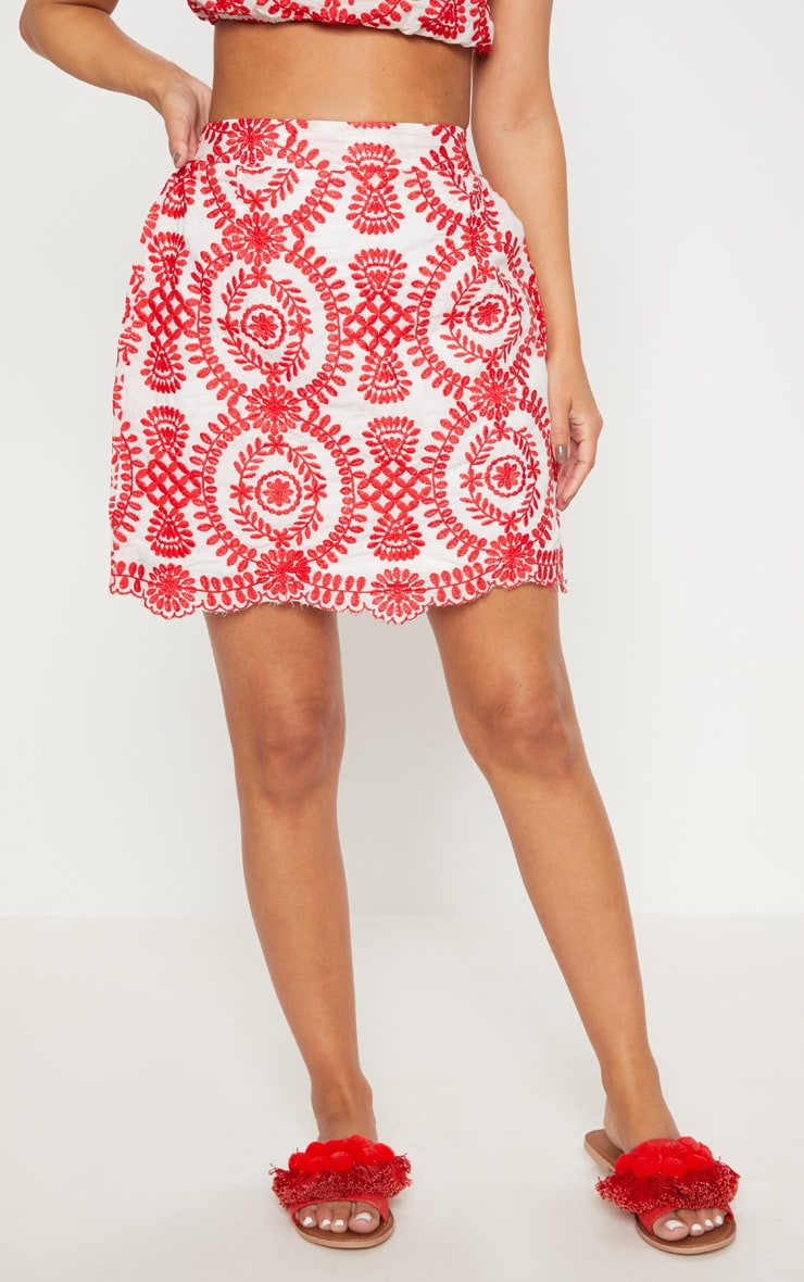 Petite Red Embroidered Mini Skirt 2